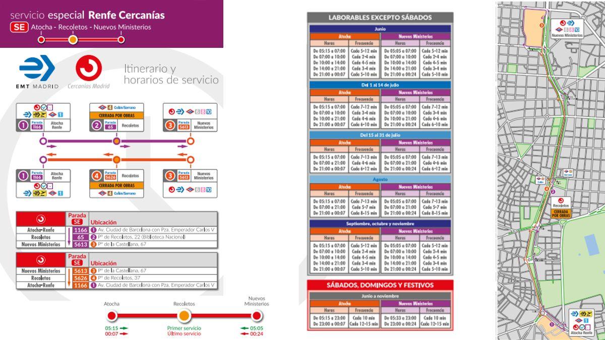 Recorrido y horarios del SE Atocha-Recoletos-Nuevos Ministerios | EMT