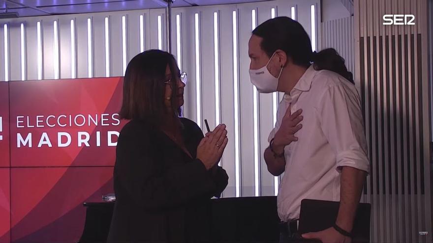 Captura de pantalla con Angels Barceló y Pablo Iglesias durante el incidente