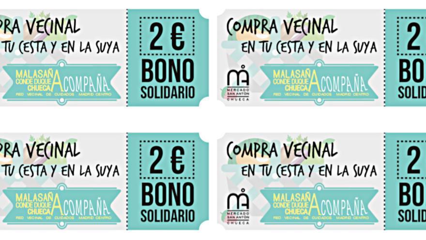 Bonos solidarios con el banco de alimentos del barrio ideados por  el mercado San Antón y por Malasaña-Conde Duque-Chueca Acompaña
