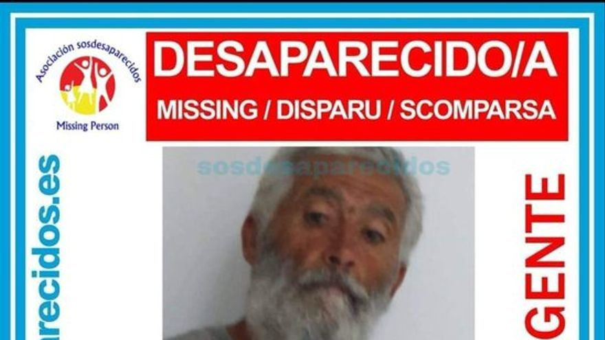 Según ha indicado la asociación SOS Desaparecidos, Juan Ramón se encuentra en paradero desconocido desde el pasado 17 de septiembre