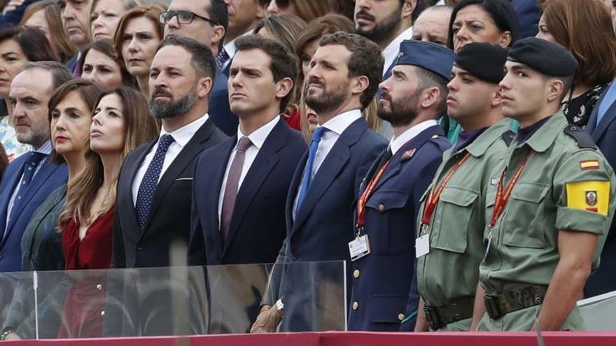 Santiago Abascal, Albert Rivera y Pablo Casado, el pasado 12 de octubre.
