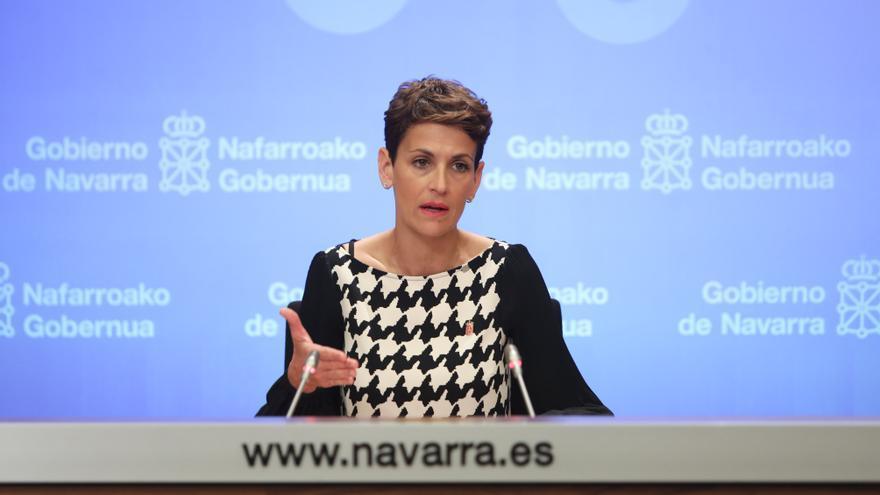 La presidenta del Gobierno de Navarra, María Chivite, en una comparecencia
