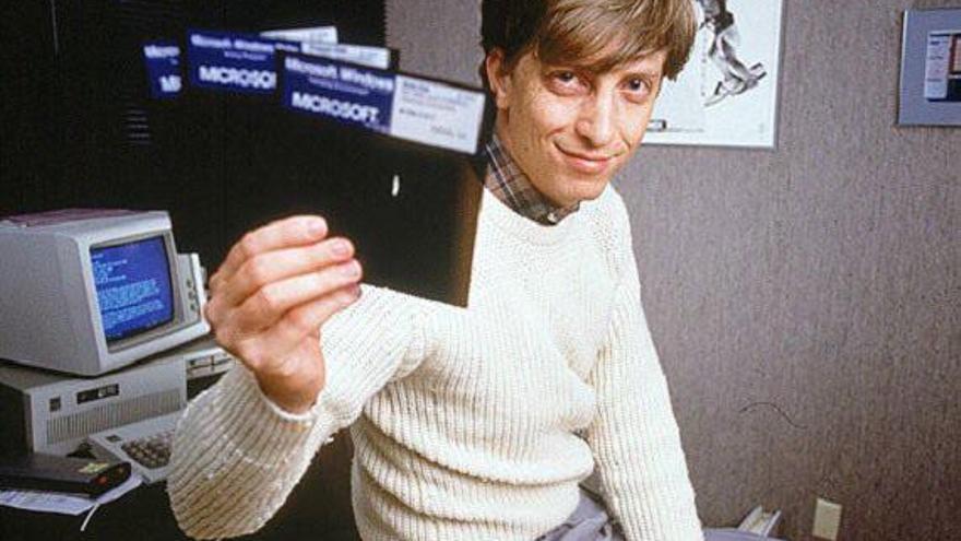 Bill Gates en el lanzamiento de Microsoft