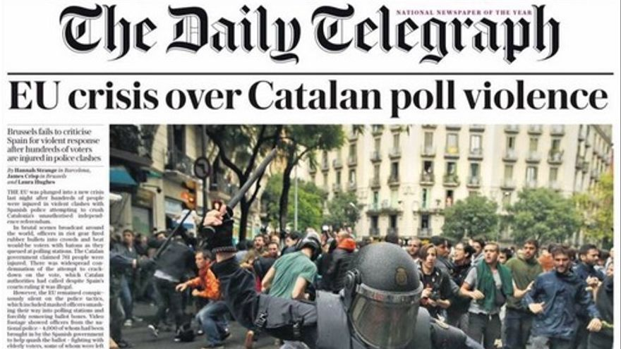 Portada de The Daily Telegraph este 2 de octubre de 2017.