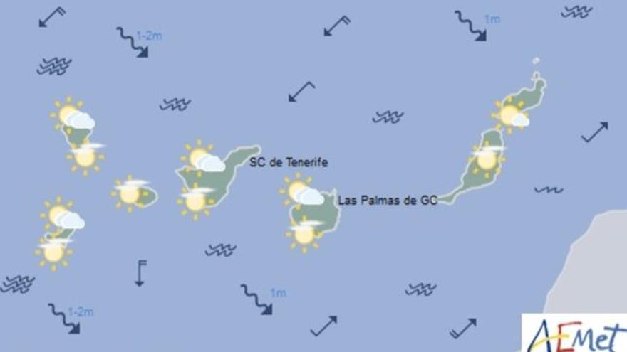 Mapa con la previsión meteorológica para este miércoles, 19 de abril de 2017