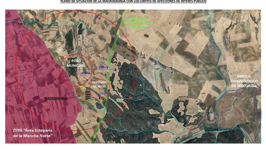 Plano de situación (2) de la macrogranja de Almendros (Cuenca)