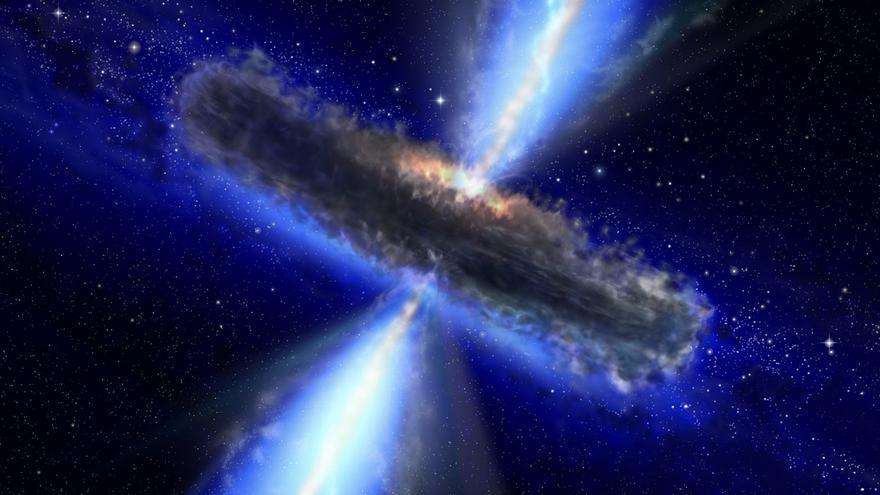 Impresión artística de un núcleo galáctico activo. Crédito: ESA/NASA, proyecto AVO y Paolo Padovani.