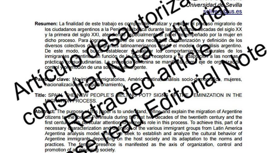 Artículo desautorizado recientemente por la Junta Directiva de la Asociación Española de Americanistas, editora de la revista Naveg@mérica