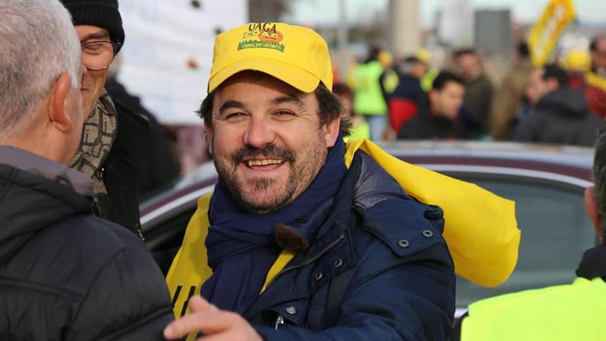 Óscar Moret, en una imagen de la tractorada que tuvo lugar en Zaragoza a principios de marzo.