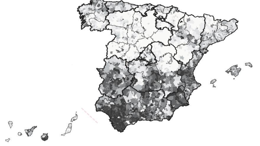 Mapa con todas las causas de mortalidad prematura en mujeres. Las zonas oscuras son las de mayor riesgo / GREDS