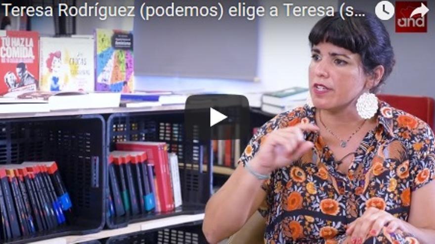 Teresa Rodríguez durante las conversaciones sobre igualdad de eldiarioand