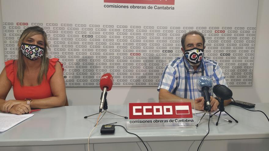 Rueda de prensa de los representantes de CCOO Carlos Ateca y Silvia Solar para informar sobre movilizaciones en el sector de la dependencia.