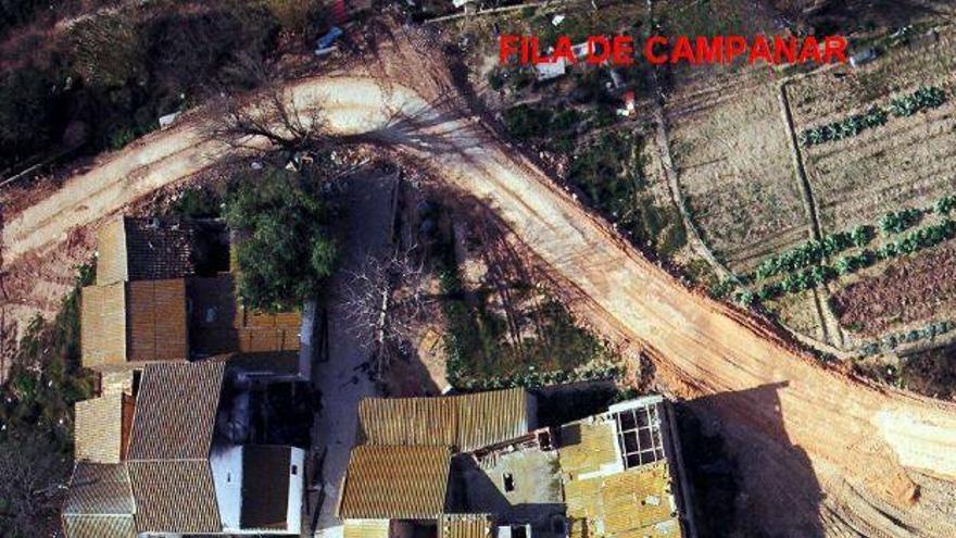 Imagen aérea del conjunto de alquerías