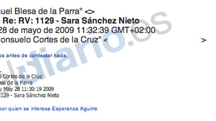 Correo a Blesa sobre la persona por la que se interesa Esperanza Aguirre