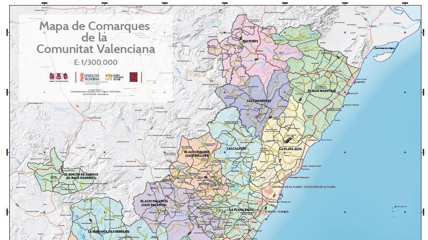 Mapa de Comarques de la Comunitat Valenciana.