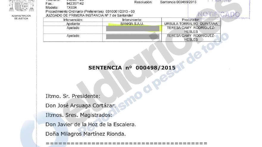 Imagen de la sentencia de la Audiencia Provincial de Cantabria.
