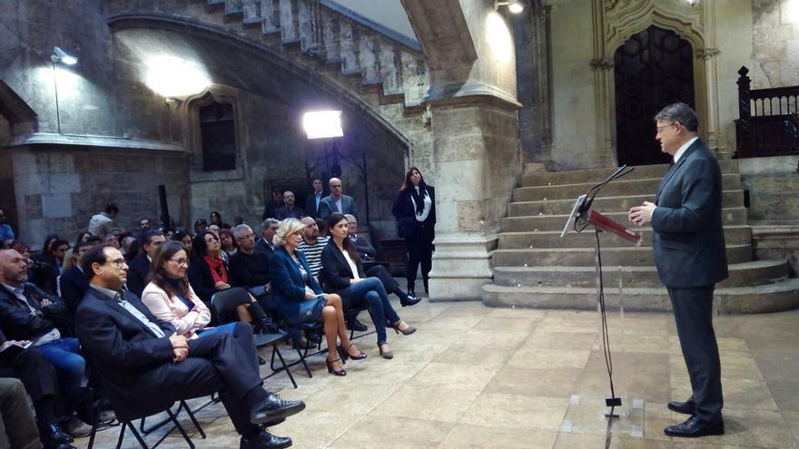 Ximo Puig durante la presentación de la Ley de Memoria Democrática y para la Convivencia en la Comunitat Valenciana