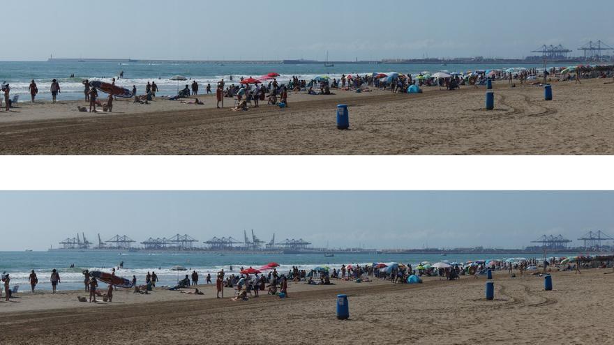 Proyección del impacto visual de la ampliación del puerto de Valencia desde la playa de la Malva-rosa (abajo). Arriba, la vista actual.