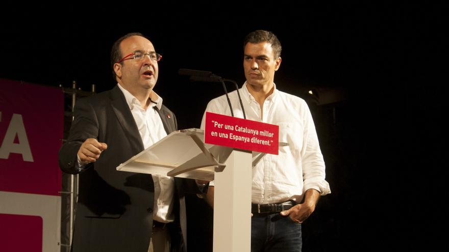 Iceta y Sánchez en el acto de Pineda de Mar. (Foto: Xavier Puig)
