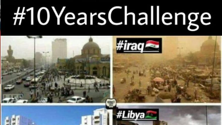 Las ciudades destruidas, según el #10YearsChallenge