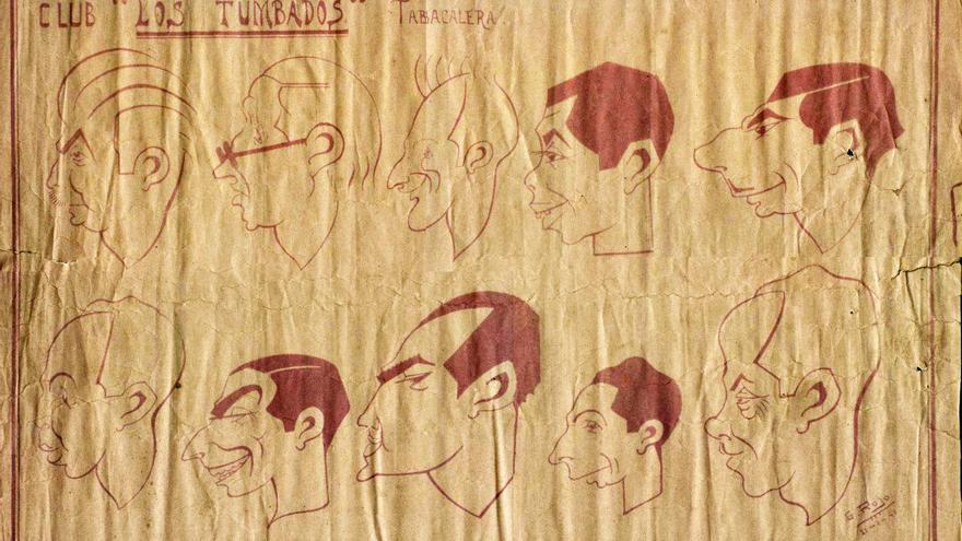 Caricaturas de El Club de los Tumbados, fechadas el 21 en enero de 1941 en la Prisión Central de Tabacalera de Santander. | G. ROJO