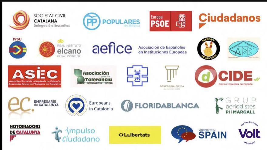 Colaboradores el acto de Sociedad Civil Catalana en Bruselas.