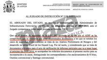 Escrito entregado este lunes en el juzgado de Santiago por la Abogacía del Estado en representación de Adif