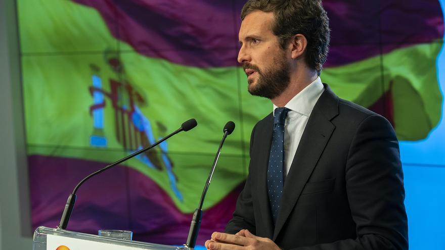 Pablo Casado, este lunes en Madrid, durante la rueda de prensa de balance del año.