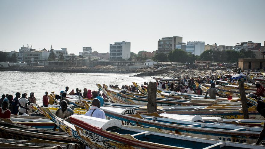 Cayucos en el puerto de Dakar (Senegal)