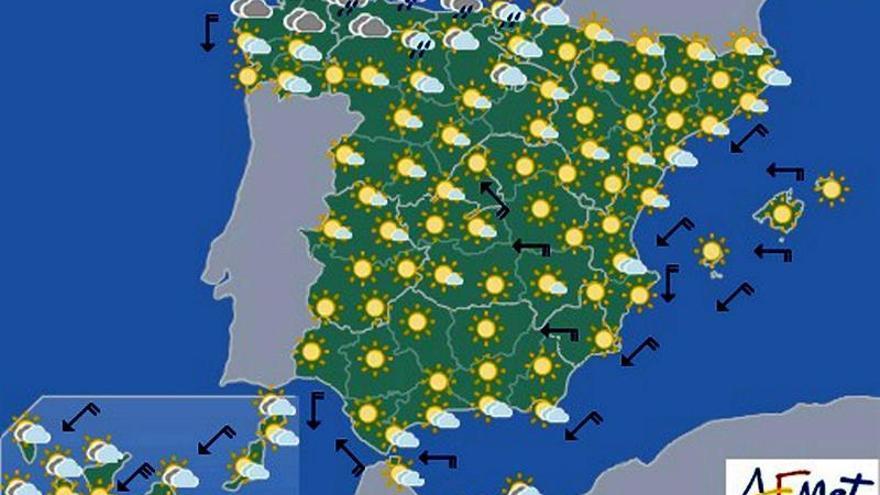 Temperaturas significativamente altas en Mallorca y centro y sur peninsular