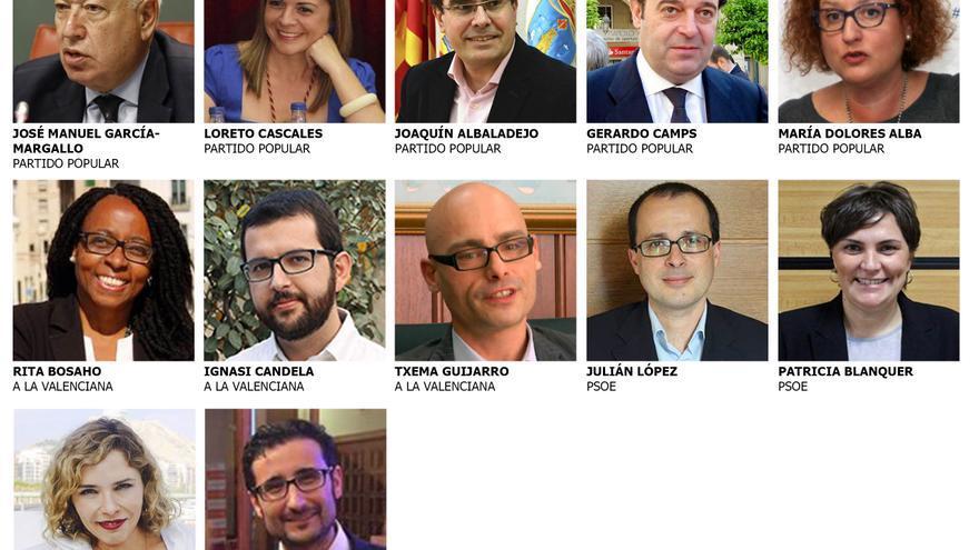 Los doce representantes en el Congreso de los Diputados por la provincia de Alicante
