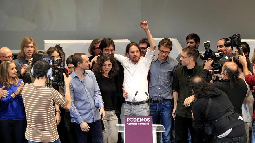 Pablo Iglesias, en el momento de su proclamación como secretario general de Podemos.  Marta Jara