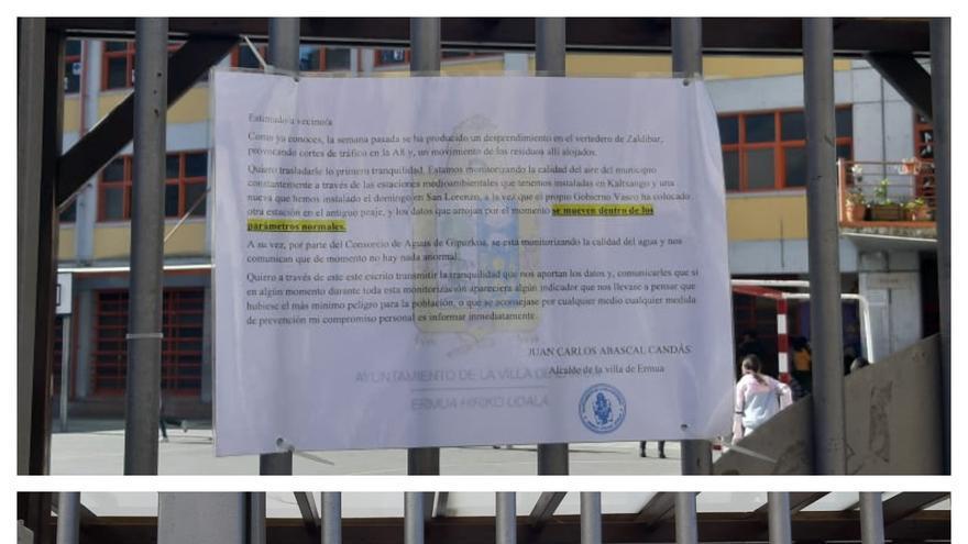 """Arriba el mensaje """"tranquilizador"""" del alcalde, abajo, ocho días después, un mensaje del equipo directivo del colegio asegurando que no se realizarán actividades al aire libre por prevención"""