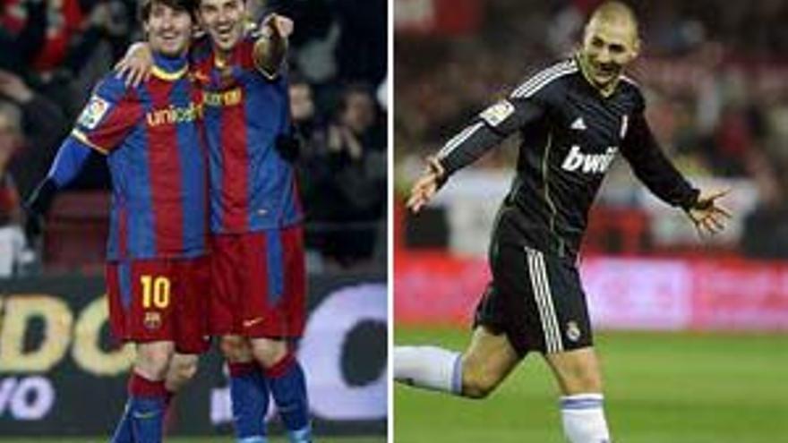Messi, Villa y Benzema, celebrando los goles.