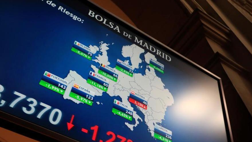 En la imagen, panel en la Bolsa de Madrid con la evolución de la prima de riesgo.