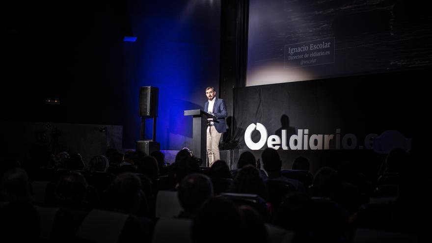 Ignacio Escolar, director de eldiario.es, en la presentación de 'El gran fracaso' | FOTO: Pablo Tosco
