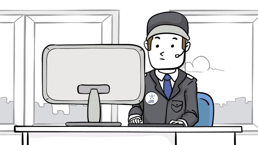 Un dibujo de un agente de Ciberalarma