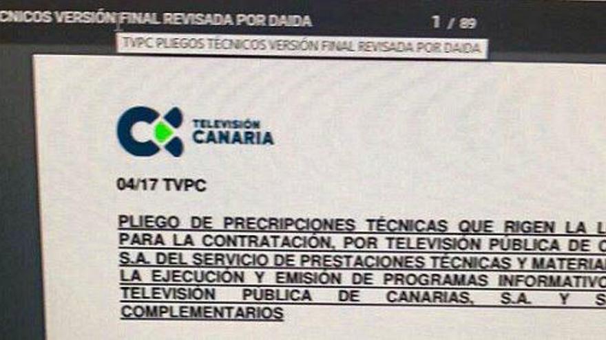 Pliego técnico para el concurso de informativos de Televisión Canaria revisado por Daida