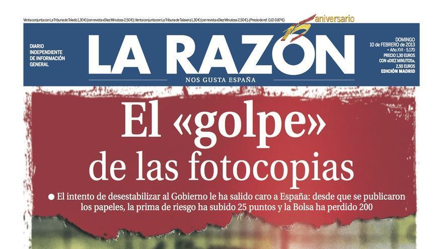 Portada del diario La Razón del 10 de febrero de 2013.