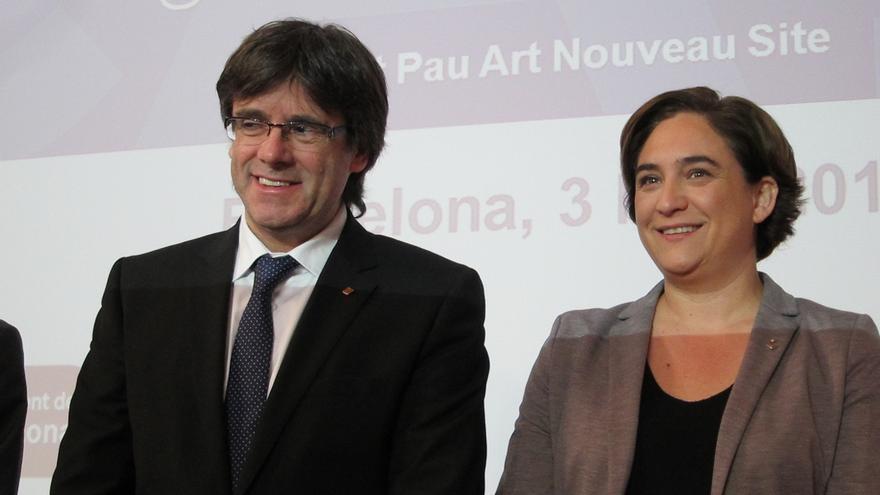 Colau y Puigdemont anuncian que en Barcelona se podrá votar el 1-O sin detallar cómo