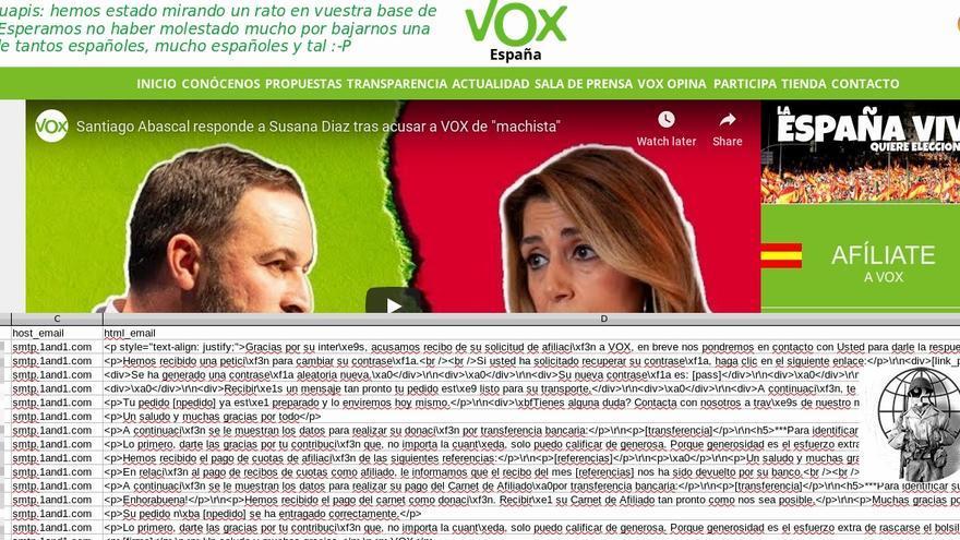 Un pantallazo publicado por La Nueve donde demuestra que ha accedido al servidor de Vox