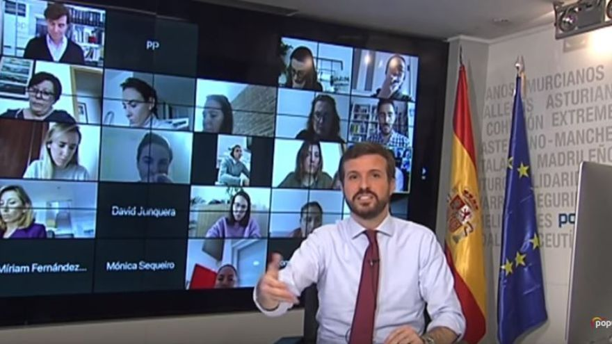 Pablo Casado durante una rueda de prensa telemática el lunes.
