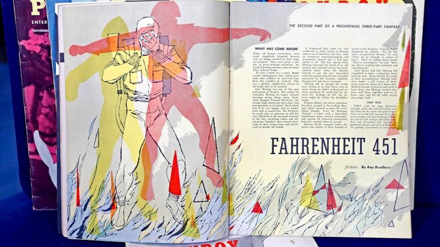 'Fahrenheit 451', de Ray Bradbury, con ilustraciones de Ben Denison para 'Playboy' (Imagen: PBS)