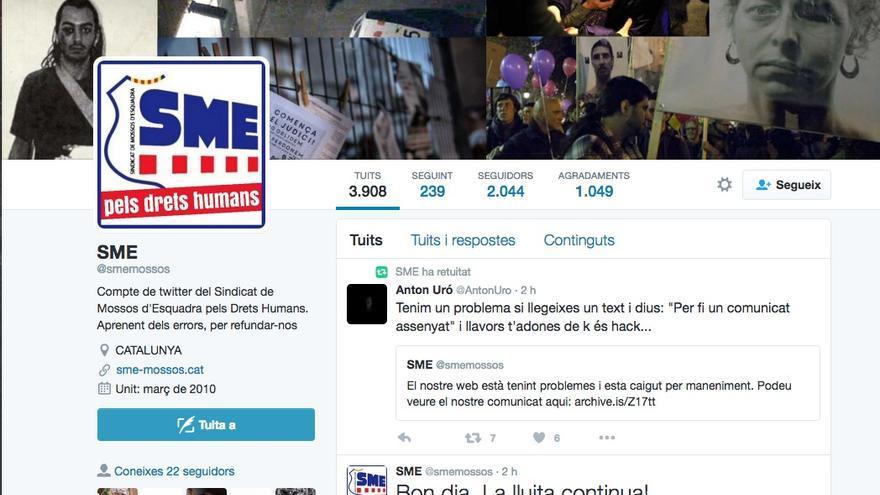 Captura de pantalla de la cuenta de twitter 'hackeada' del SME
