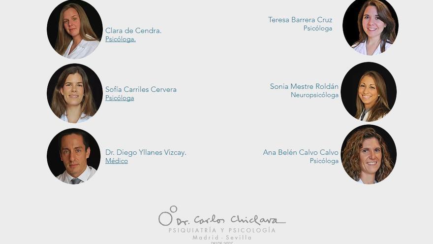 Captura de pantalla de la web antes de que Yllanes fuera eliminado como parte del Equipo Asistencial