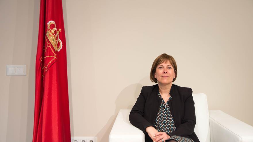 La presidenta de Navarra, Uxue Barkos, en su despacho.