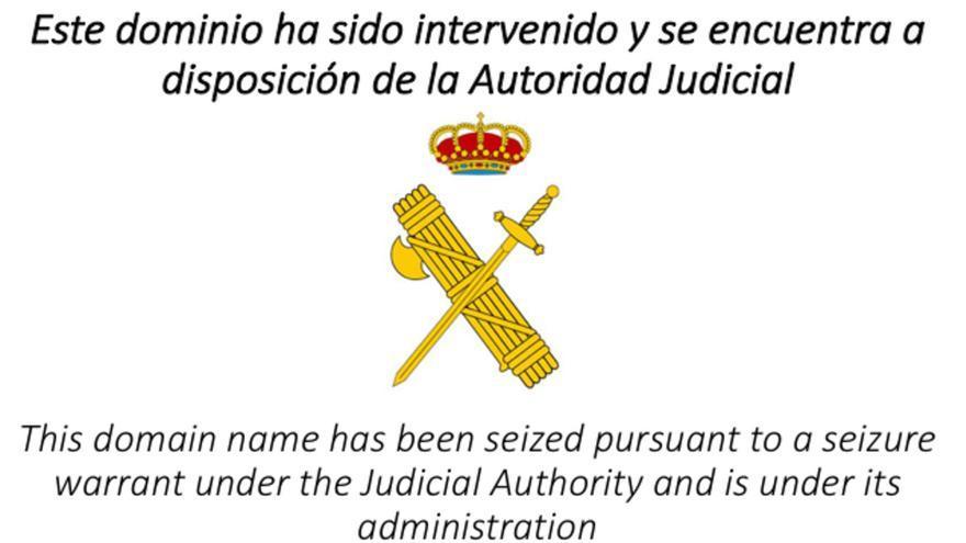 Captura que muestra la intervención de la Guardia Civil de la web www.empaperem.com