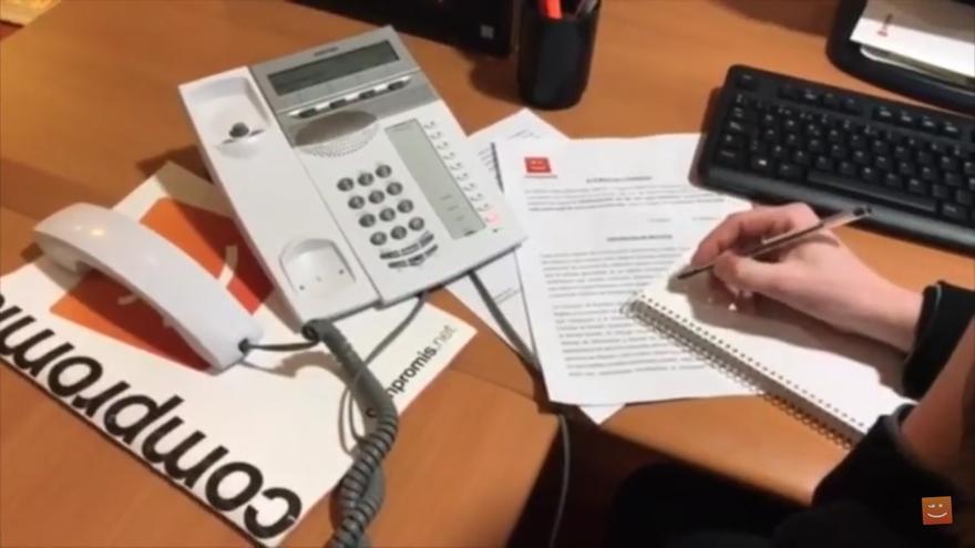 Imagen del vídeo de Compromís contratando el anuncio