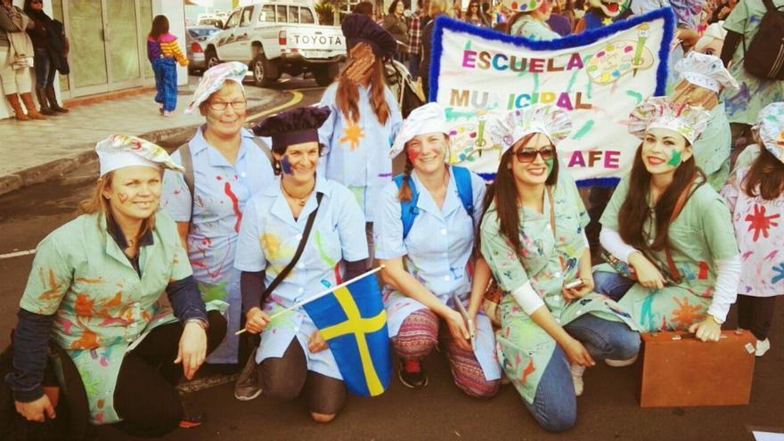 En la imagen, la delegación docente de Suecia en su visita a Tijarafe.