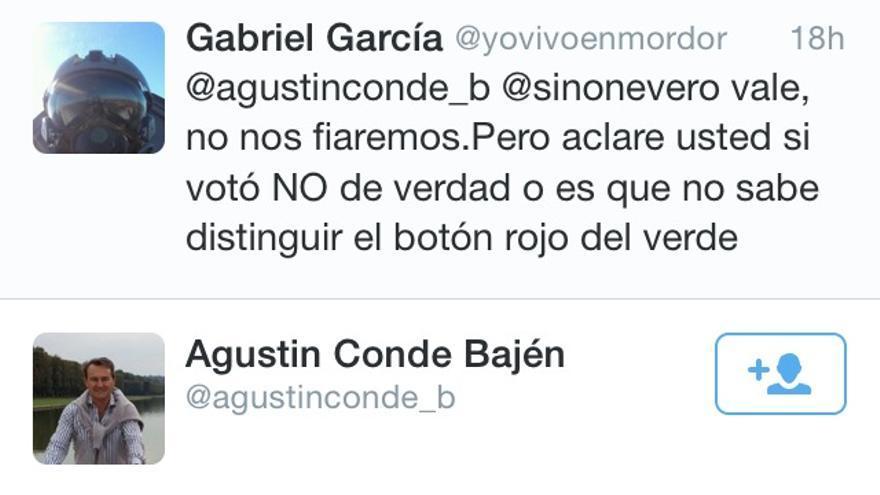 Tuit del diputado del PP Agustín Conde.